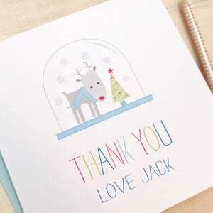 Personalised Childrens Christmas Thank You Cards pack of 10 Blue