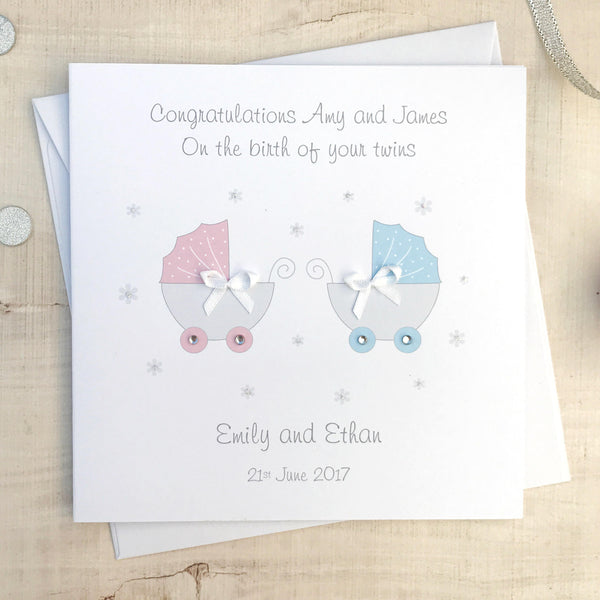 Personalised Handmade Baby Twins Card