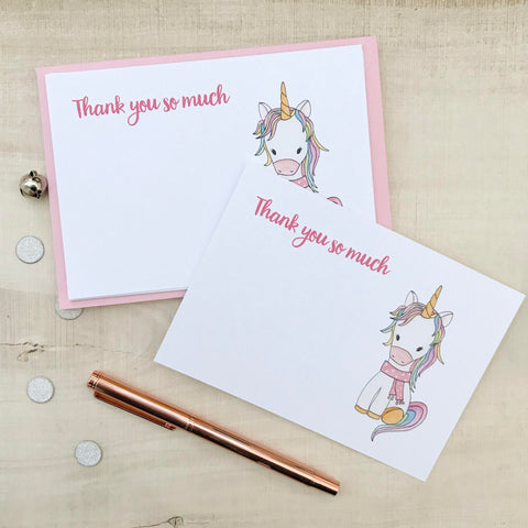 Personalised Unicorn Christmas Thank you Note Cards