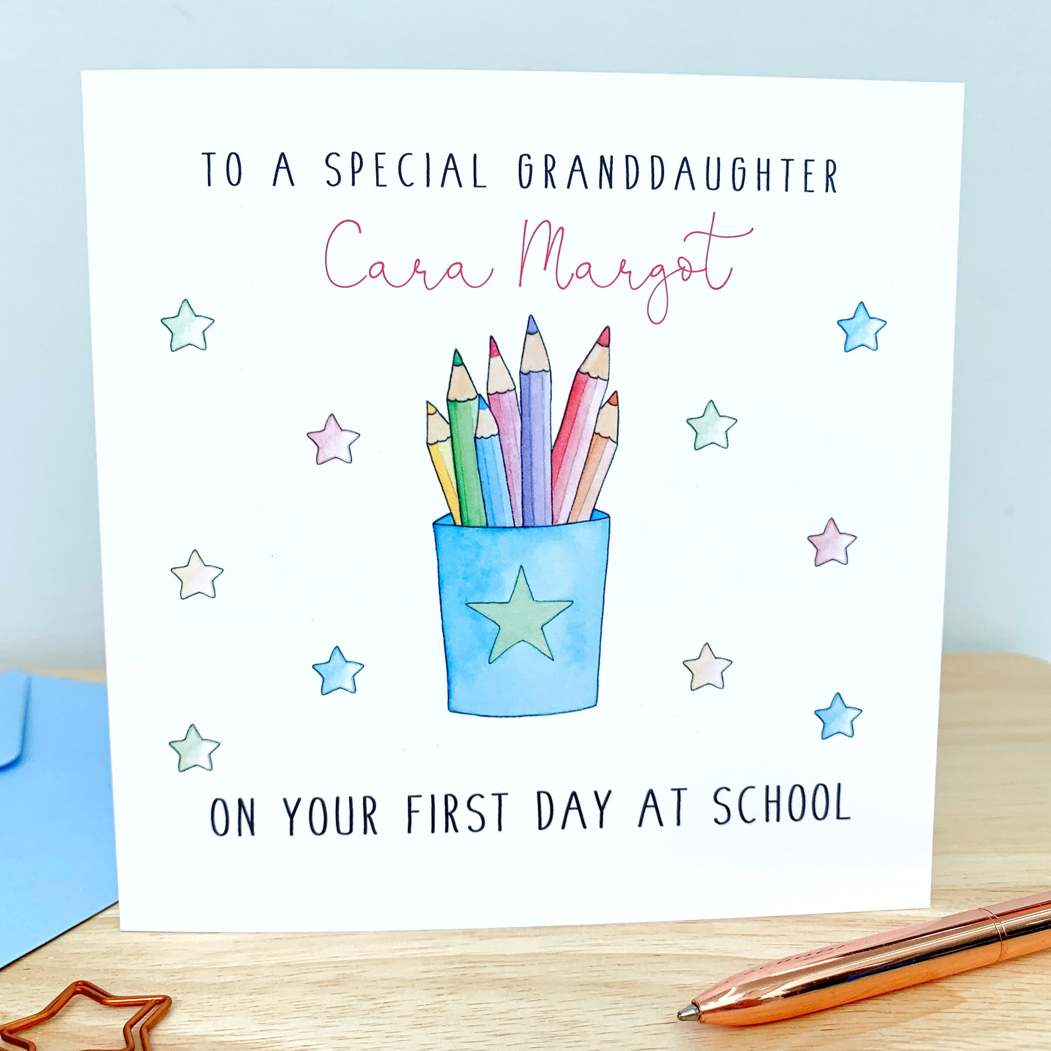 Personalised Good Luck on your First Day at School Card