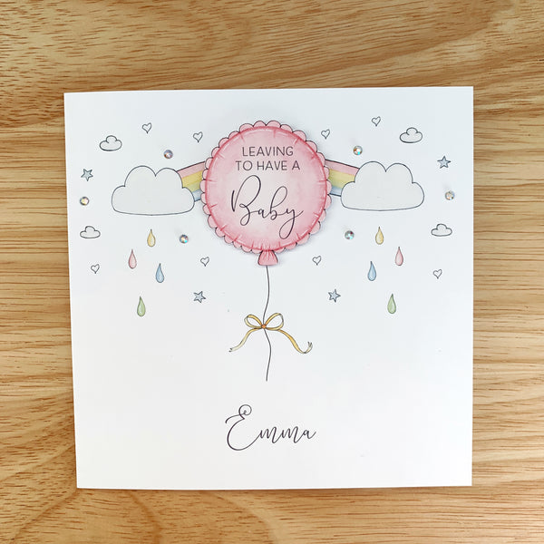 Personalised Leaving To Have A Baby Card – Pink Balloon For A Girl
