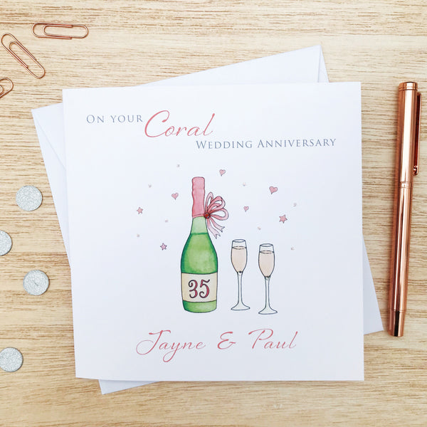 Handmade Personalised Coral Wedding Anniversary Card – 35th Anniversary Cards