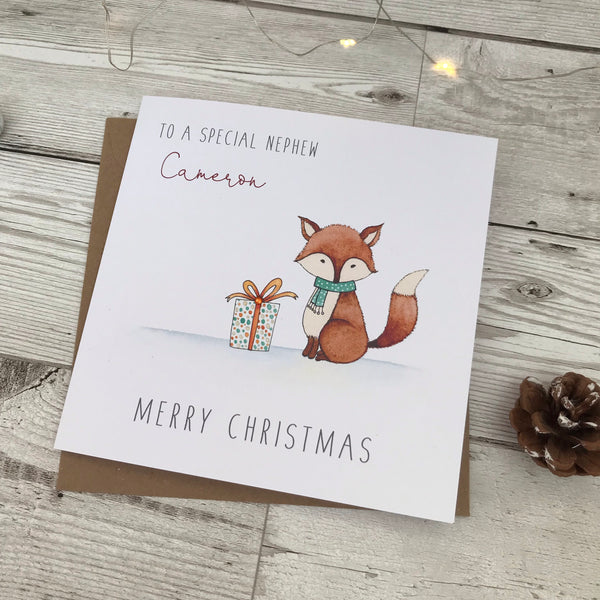 Personalised Christmas Card - Fox