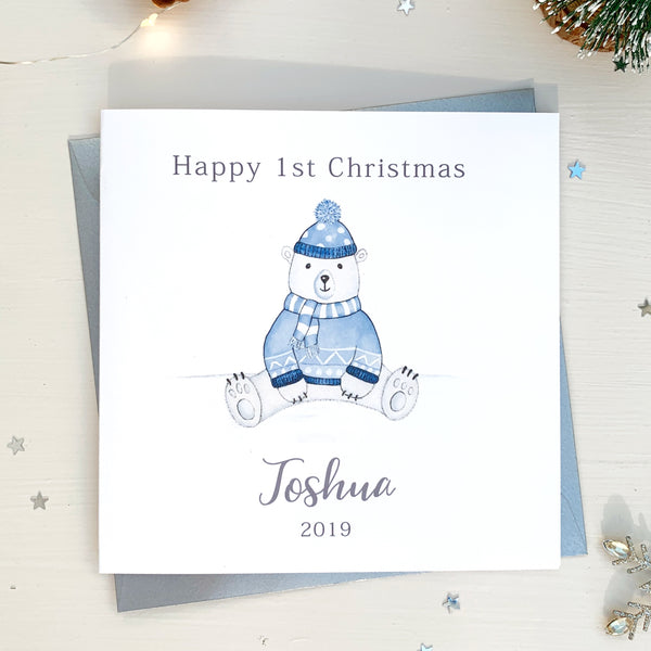 Personalised Boys 1st Christmas Card - First Christmas Card - Polar Bear