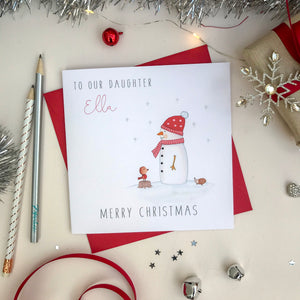 Personalised Christmas Card - Snowman and Robin