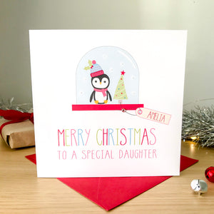 Handmade Personalised Girls Christmas Card -