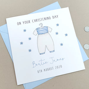 Personalised Christening Card  - Boys Christening Card