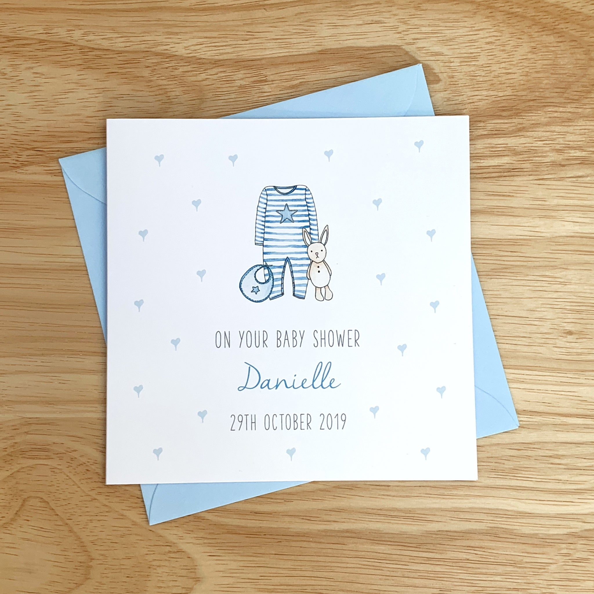 Handmade Personalised Baby Shower Card - On your baby shower card