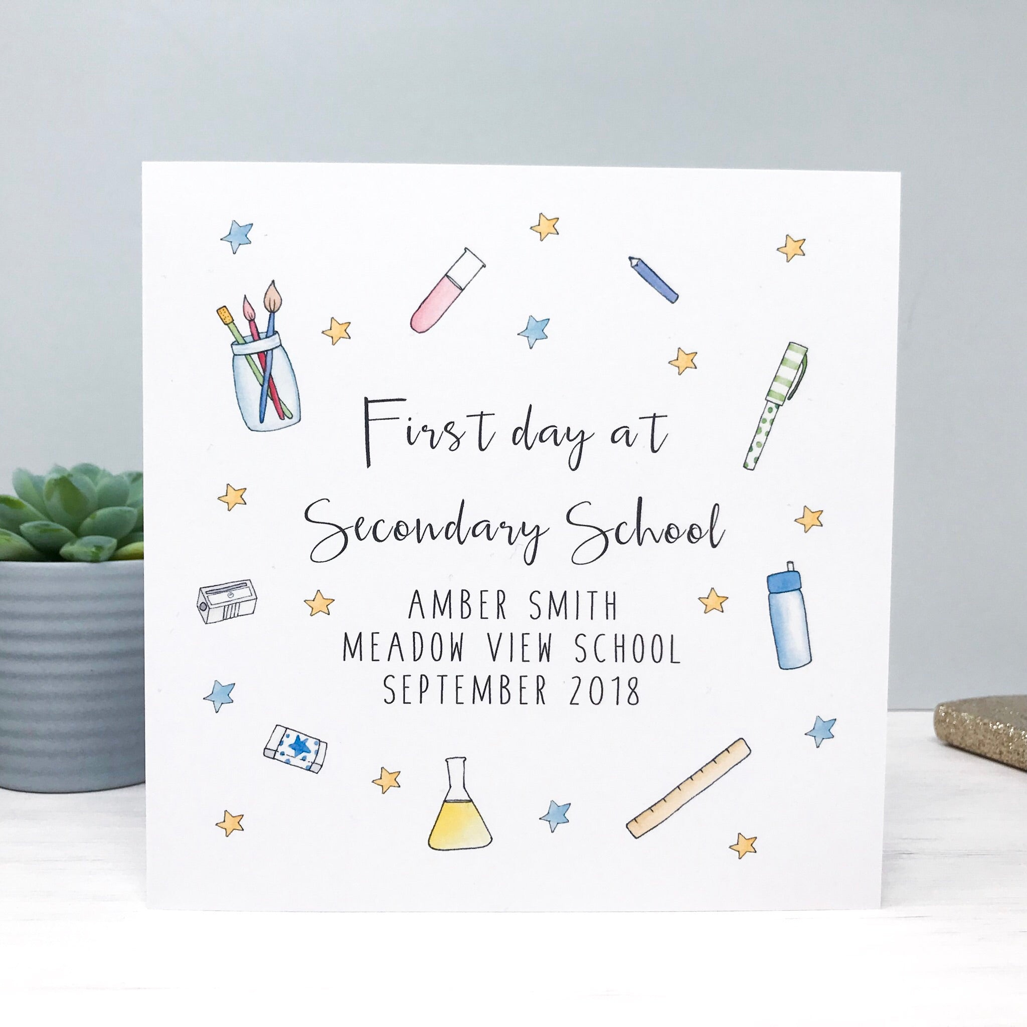 Personalised Good Luck on your First Day at Secondary School Card - First Day at High School Card