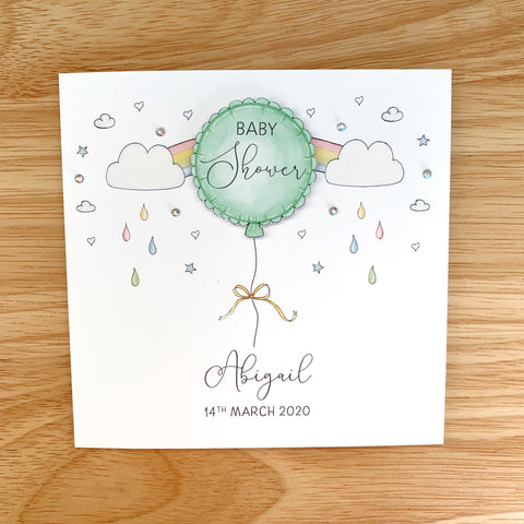 Personalised Baby Shower Card – Green Balloon - Gender Neutral Baby Shower Cards