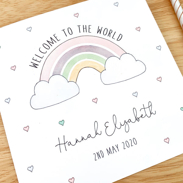 Personalised New Baby Girl Card – Rainbow Baby Card