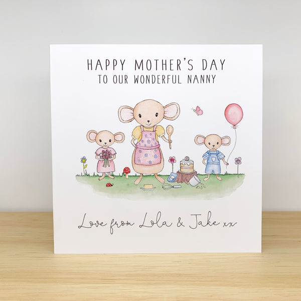 Personalised Mother's Day Card - Mouse Family