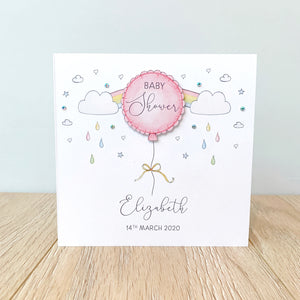 Personalised Baby Shower Card – Pink Balloon