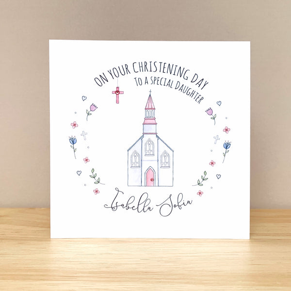 Personalised Christening Card – Daughter, Granddaughter, Niece, Goddaughter
