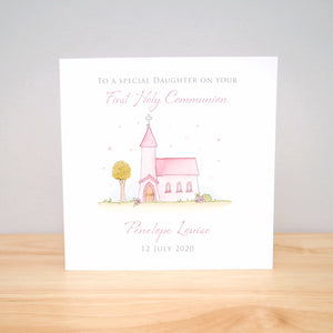 Personalised First Holy Communion Card - Girls Communion Card