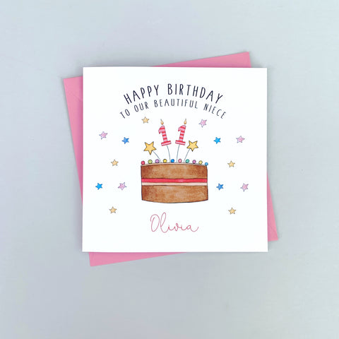 Personalised Birthday Card - Birthday Cake Card for any age