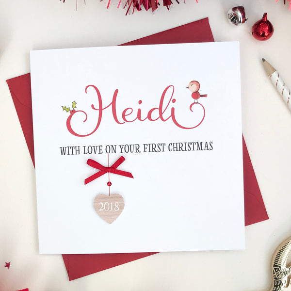 Personalised Handmade First Christmas Card