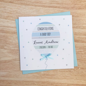 Handmade Personalised Baby Boy Card – Balloon