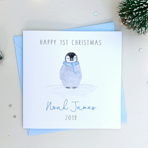 Personalised Boys 1st Christmas Card - First Christmas Card - Penguin