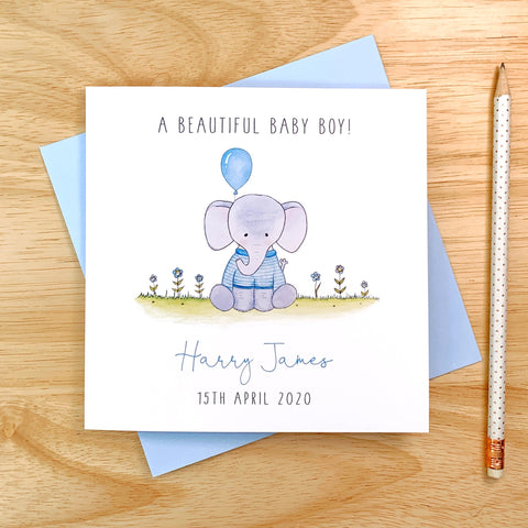 Personalised Baby Boy Card - Elephant