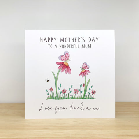 Personalised Mother's Day Card - Mummy and Baby Butterflies