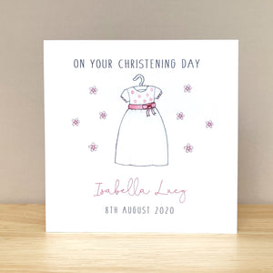 Handmade Personalised Girls Christening Card