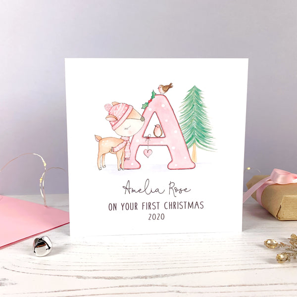 Personalised Girls 1st Christmas Card - Girls Christmas Card