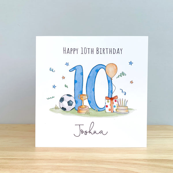 Personalised Boys Birthday Card – Football Birthday Card