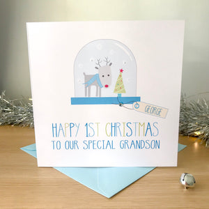 Handmade Personalised Boys 1st Card - Snowglobe