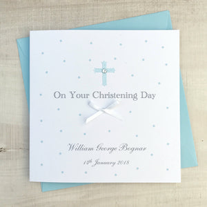 Handmade Personalised Boys Christening Card