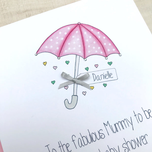 Personalised Handmade Baby Shower Card – Pink Umbrella Parasol