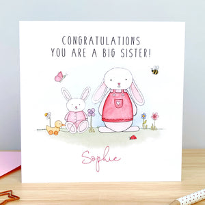 Personalised Handmade New Big Sister Card