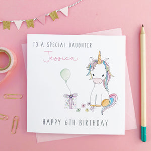 Personalised Unicorn Birthday Card