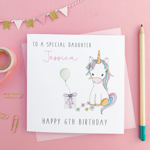 Personalised Unicorn Birthday Card - Daughter, Granddaughter, Niece