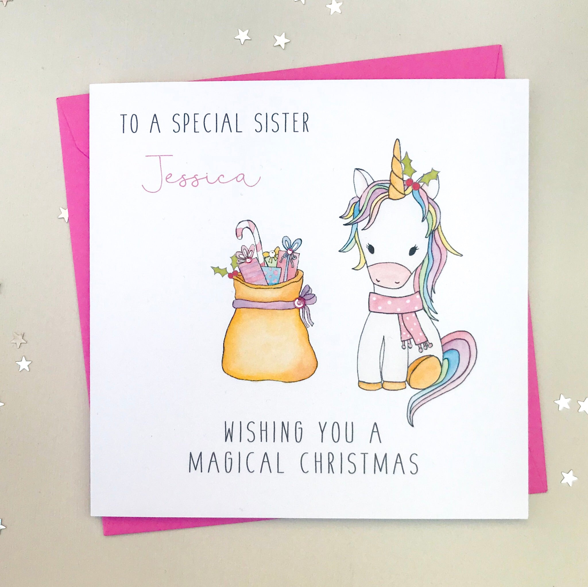 Personalised Unicorn Christmas Card - Daughter, Granddaughter, Niece
