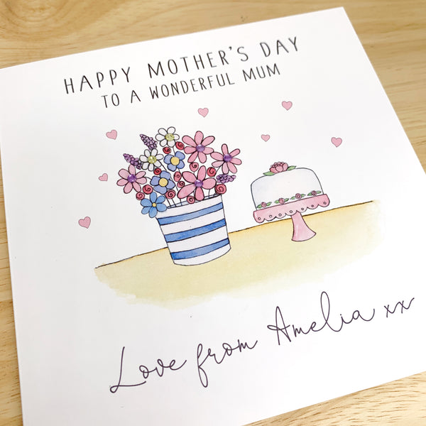 Personalised Mother's Day Card - Flower Pot and Cake