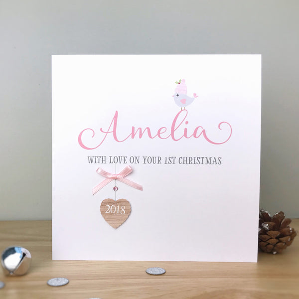 Personalised Handmade 1st Christmas Card for a girl