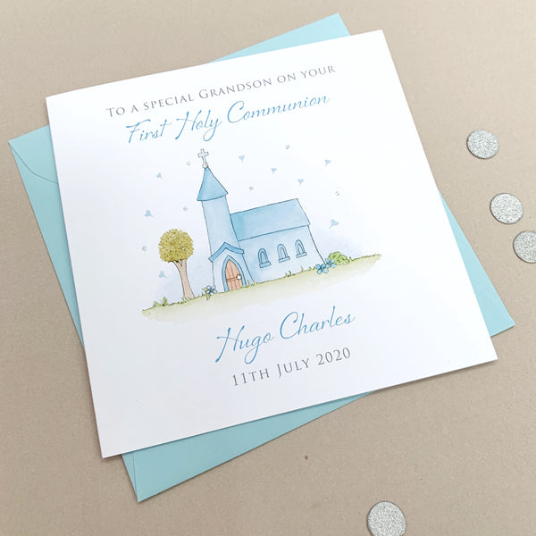 Personalised First Holy Communion Card - Boys Communion Card