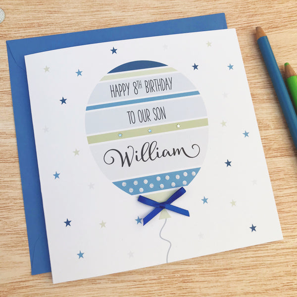 Personalised handmade birthday card - blue balloon, 1st, 2nd, 3rd, 4th, 5th, 6th, 7th, 8th,