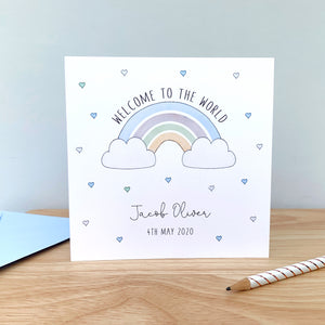 Personalised New Baby Boy Card – Rainbow Baby Boy Card