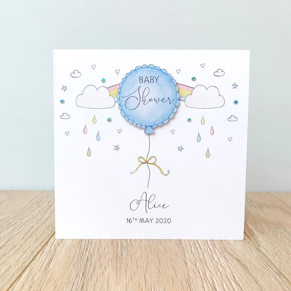 Personalised Baby Shower Card – Blue Balloon