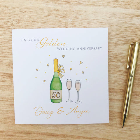Handmade Personalised Golden Wedding Anniversary Card – 50th Anniversary