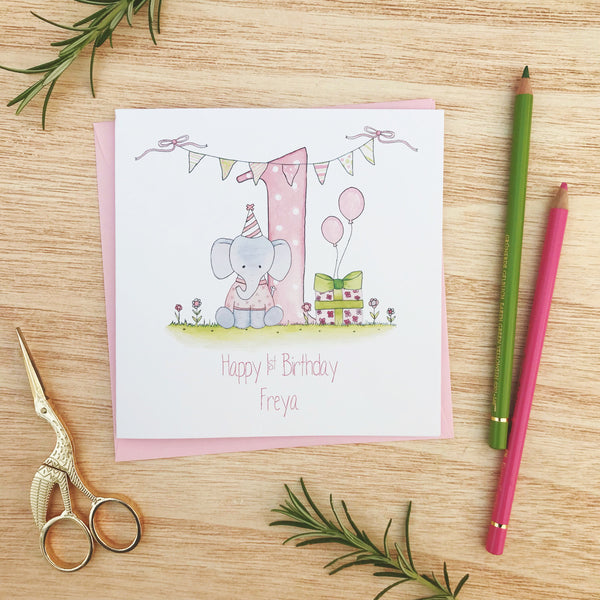 Personalised Girls 1st Birthday Card - Elephant
