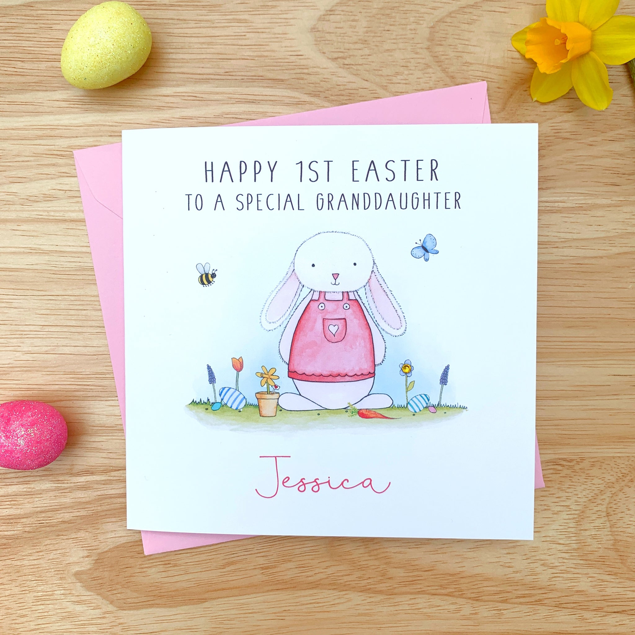 Personalised Girls 1st Easter Card - Daughter, Granddaughter, Niece, Goddaughter, First