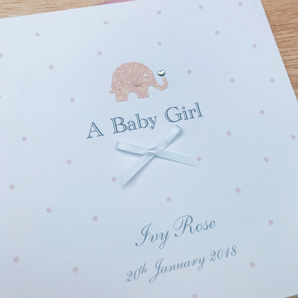 Handmade Personalised Baby Girl Card – Elephant