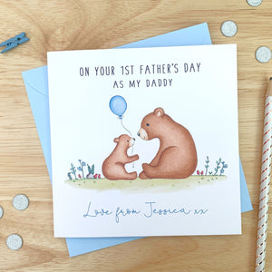 Personalised 1st Father's Day Card - Bear First Fathers Day Card - Daddy, Grandad, Grandpa, Pops