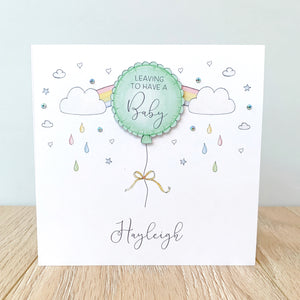 Personalised Leaving To Have A Baby Card – Green Balloon