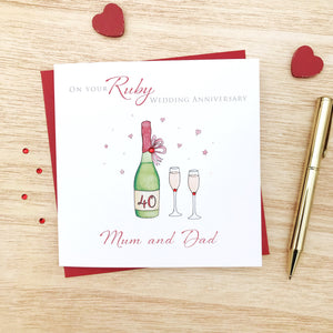 Handmade Personalised Ruby Wedding Anniversary Card – Personalised 40th Anniversary Card