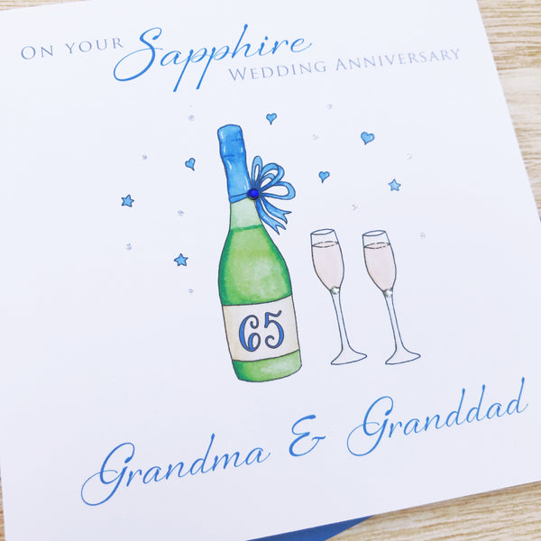 Handmade Personalised Sapphire Wedding Anniversary Card – 45th or 65th