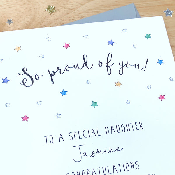 Personalised So Proud Of You Card - Well Done Card - Passed your Exams Card
